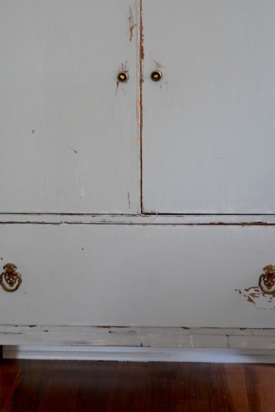 Commode en bois shabby, rustic chic gris blanc usée5