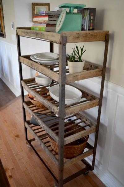 Étagère industrielle à pain antique bois et métal2
