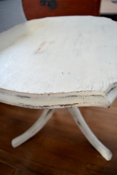 Table à café shabby chic rustique blanc gris et bois2
