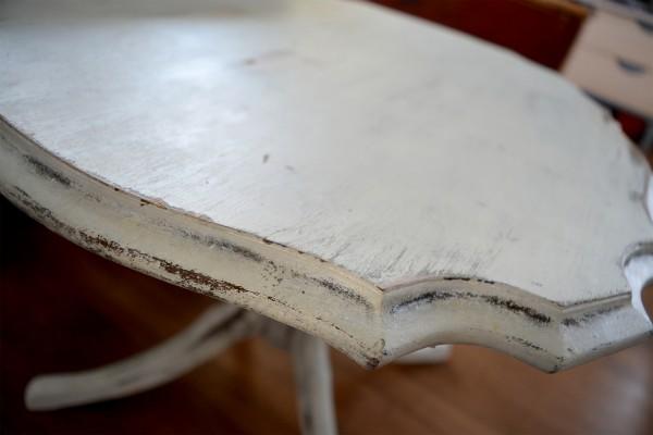 Table à café shabby chic rustique blanc gris et bois4