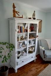 Armoire étagère, bibliothèque rustique shabby chic