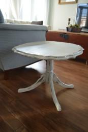 Table à café shabby chic rustique blanc gris et bois
