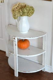 Table demi-lune blanche style rustique chic